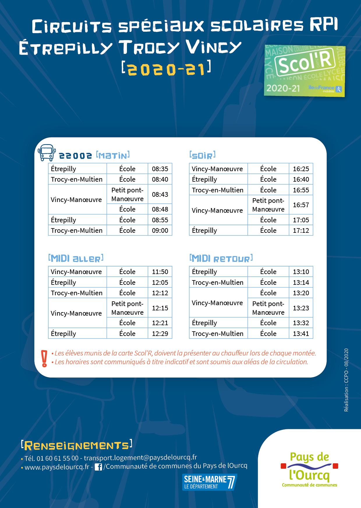 horaires de bus du RPI